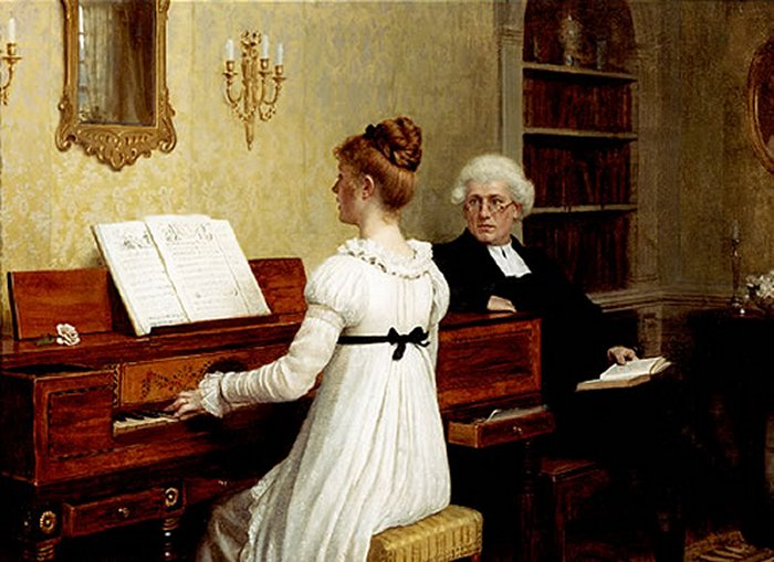 Edmund_Blair_Leighton_-_Singing_to_the_reverend